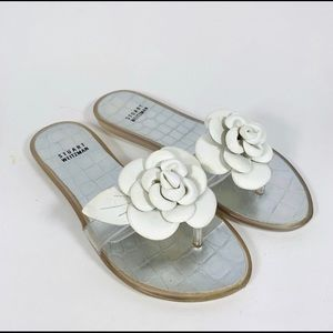 White Stuart Weitzman jelly flower sandals😍